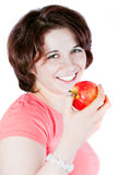 The girl from apples Stock Photos
