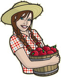 Girl with Apples. Illustration of a country girl holding a bucket of apples Royalty Free Stock Photos