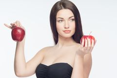 Girl and apples Royalty Free Stock Photo