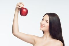 Girl and apples Royalty Free Stock Photography