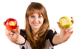 Girl and apples Stock Photos
