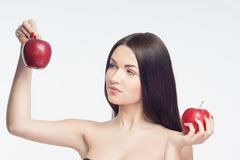 Girl and apples Royalty Free Stock Image