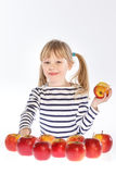 Girl with apples on a white background Royalty Free Stock Photo