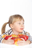 Girl with apples on a white background Royalty Free Stock Photography