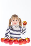 Girl with apples on a white background Stock Photo