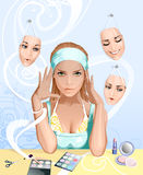 Girl Applying Cosmetics. With Masks on the background Royalty Free Stock Image