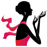 Girl applying make up silhouette, vector Royalty Free Stock Image