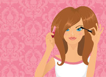 Girl applying makeup. Pretty girl applying mascara and lipcolor at the same time vector illustration