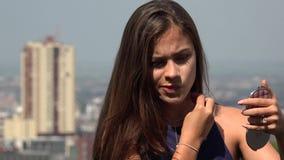 Girl Applying Makeup Or Cosmetics stock footage