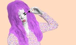 Girl applying mascara. Girl with purple hair applying black mascara over a pink background Stock Image