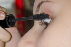 Girl applying mascara Royalty Free Stock Photo