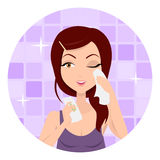 Girl Applying Wet Wipes. Vector Royalty Free Stock Photography