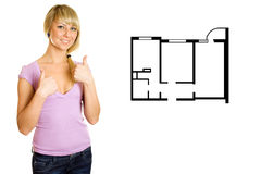 Girl approves plan apartments Stock Photos
