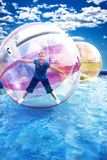 Girl in Aqua Ball stock images