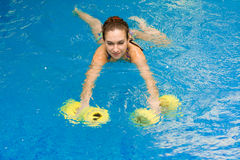 Girl in aqua fitness aerobic stock photography