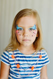 Girl with aqua makeup Stock Photos