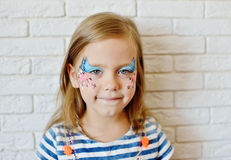 Girl with aqua makeup Stock Photography