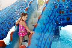 Girl in aqua park Stock Photography