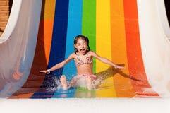 Girl at aqua park royalty free stock image