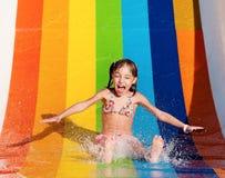 Girl at aqua park royalty free stock images