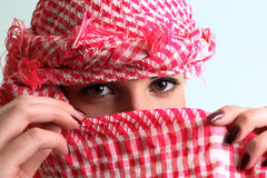 The girl with a arab headscarf Royalty Free Stock Photo