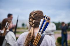Girl Archer from the back stock photo