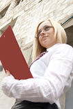 The girl architect. With a folder of documents Royalty Free Stock Images