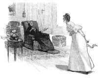 Girl arguing with old woman reading a book in the parlor. Vintage illustration, girl argues animately with older woman sitting and reading a book in the drawing Royalty Free Stock Image