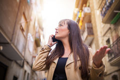 Girl arguing over the phone Stock Photos