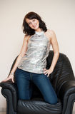 Girl in armchair. Images of beautiful glamorous girl in armchair Stock Photos