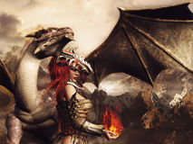 Girl in armor and a dragon. Fantasy scenery with a girl in armor, holding fire and standing by a dragon Stock Photos