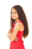 Girl with arms folded in semi profile Royalty Free Stock Photos