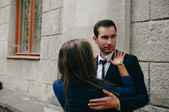Girl in the arms of her boyfriend Royalty Free Stock Photography