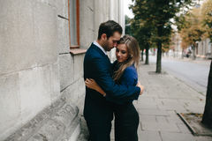 Girl in the arms of her boyfriend Royalty Free Stock Images