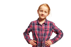 Girl with arms in the hips. Young Girl with arms in the hips royalty free stock image