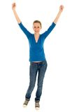 Girl with arms raised Stock Photos