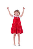 Girl with arms raised. Cute girl with arms raised as if in victory Royalty Free Stock Photo