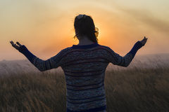 Girl Arms Raised Sunset Stock Image