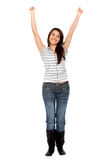 Girl with arms up Stock Photography