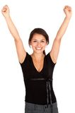 Girl with arms up Stock Photo