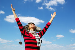 Girl with arms wide open Royalty Free Stock Image