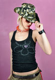 Girl with army hat Royalty Free Stock Photos
