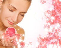 Girl with aroma bath ball Stock Photos