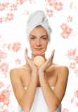 Girl with aroma bath ball Stock Images