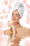 Girl with aroma bath ball Stock Photo
