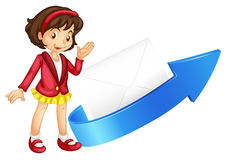 Girl, arrow and envelop Royalty Free Stock Photo