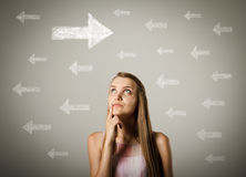 Girl and arrows. Royalty Free Stock Image