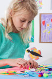 Girl at art lessons at school Stock Photo