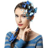Girl with art make-up blue butterflies Royalty Free Stock Photography