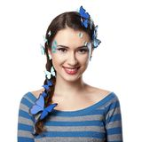 Girl with art make-up blue butterflies Royalty Free Stock Photos